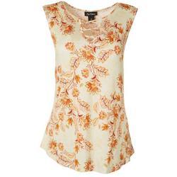 Womens Leaf Print Lace Keyhole Sleeveless Top