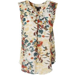 Nue Options Womens Floral Print V-Neck Sleeveless Top