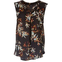Nue Options Womens Leaf Flowy V-Neck Sleeveless Top