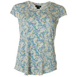 Nue Options Womens Scale Print Cap Sleeve Top