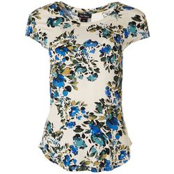 Nue Options Womens Flowery Cap Sleeve Shirt
