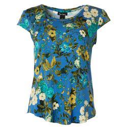 Womens Floral Print Cap Sleeve Top
