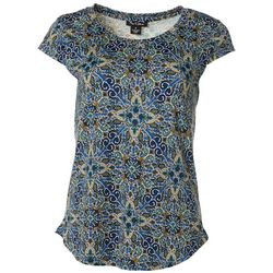 Nue Options Womens Damask Print Cap Sleeve Top