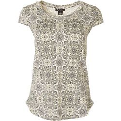 Nue Options Womens Geometric Floral Cap Sleeved Shirt