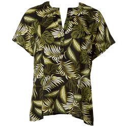 Nue Options Womens Tropical Button Short Sleeve Top