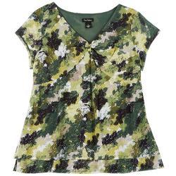 Womens Leafy Twist Neckline Top