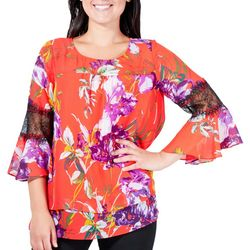 NY Collection Womens Floral Chiffon Top