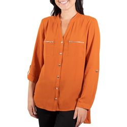 NY Collection Womens Mandarin Collar Blouse