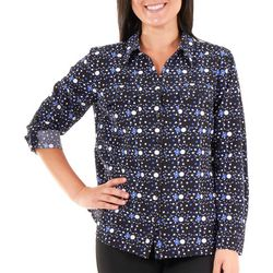 NY Collection Womens Printed 3/4 Sleeve Blouse