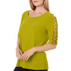 89th & Madison Women's Solid Lattice Elbow Sleeve Top