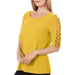 89th & Madison Womens Solid Lattice Elbow Sleeve Top