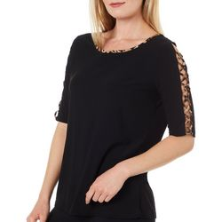 89th & Madison Womens Solid Leopard Lattice Elbow Sleeve Top