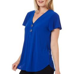 89th & Madison Womens Solid Grommet Detail V-Neck Top