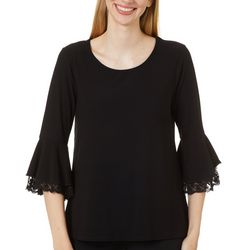Love Scarlett Solid Lace Trim Bell Sleeve Top