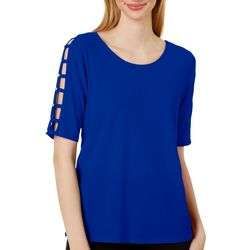 89th & Madison Solid Jeweled Lattice Sleeve Top