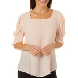 Sami & Jo Womens Solid Square Neck Smocked Detail Top