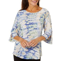 Sami & Jo Womens Watercolor Print Round Neck Top
