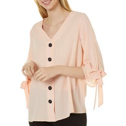 Sami & Jo Womens Tie Sleeve Button Front Top