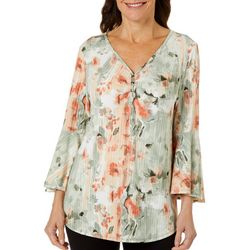 Sami & Jo Womens Bell Sleeve Ribbed Watercolor Button Top