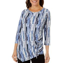 Sami & Jo Womens Asymmetric Ruched Printed Top