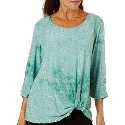 Sami & Jo Womens Twist Front Sequin Fiesta Top