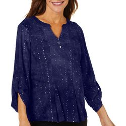 Sami & Jo Womens Sequin Fiesta Roll Tab Top