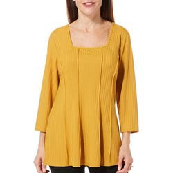 Sami & Jo Womens Solid Square Neck Long Sleeve Top