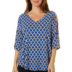 Sami & Jo Womens Geometric Puff Print Ladder Sleeve Top