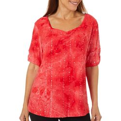 Womens Embellished Fiesta Sweetheart Neckline Top