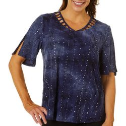 Sami & Jo Womens Embellished Fiesta Lattice V-Neckline Top