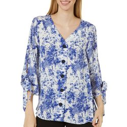 Sami & Jo Womens Tie Sleeve Button Front Floral Top