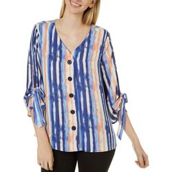 Sami & Jo Womens Tie Sleeve Button Front Stripe Top