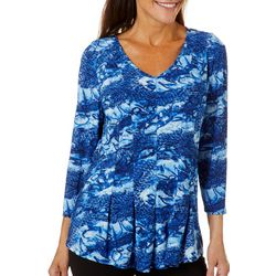 Sami & Jo Womens Fit & Flare Snakeskin Print Top