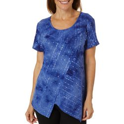Womens Surplice Hem Sequin Fiesta Top