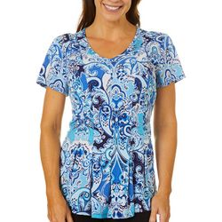 Womens Fit & Flare Paisley Print Top