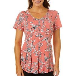 Sami & Jo Womens Fit & Flare Scroll Print Top