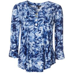 Sami & Jo Womens Swirl Print Pleated Roll Tab Top
