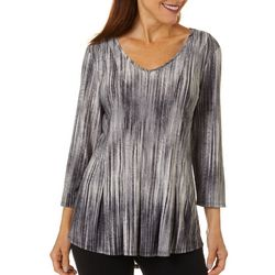 Sami & Jo Womens Fit & Flare Space Dye Stripe Print Top