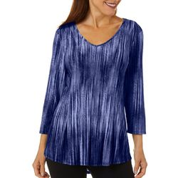 Sami & Jo Womens Fit & Flare Textured Stripe Print Top