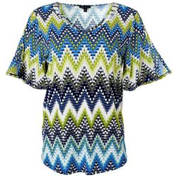 Sami & Jo Womens Geo Chevron Puff Print Lattice Neckline Top