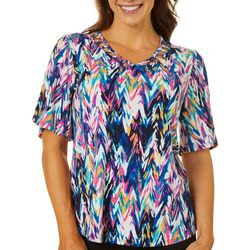 Sami & Jo Womens Chevron Puff Print Lattice Neckline Top