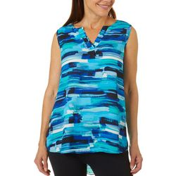 Sami & Jo Womens Brushstroke Striped High-Low Sleeveless Top