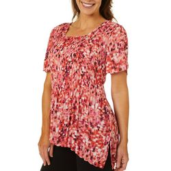 Sami & Jo Womens Pleated Graphic Print Open Sleeve Top
