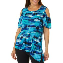 Sami & Jo Womens Mixed Striped Pleated Cold Shoulder Top
