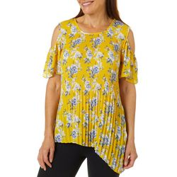 Sami & Jo Womens Floral Pleated Cold Shoulder Top