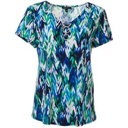 Sami & Jo Womens Geo Chevron Puff Print Ring V-Neck Top