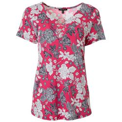 Womens Floral Puff Print Ring V-Neck Top