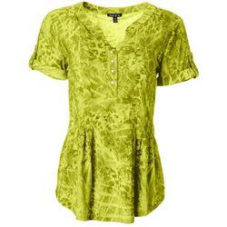 Sami & Jo Womens Swirl Print Pleated Short Sleeve Top