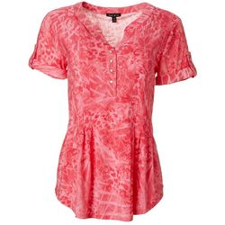 Sami & Jo Womens Swirl Print Pleated Short Sleeve Top