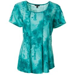 Sami & Jo Womens Swirl Print Pleated Square Neck Top